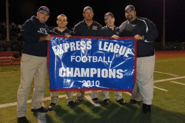 I hired all four of these coaches at Capo Valley Christian.  Among the best staffs I've ever had!  One, Noel Johnson the far left, I had to talk out of retirement to be our Defensive Coordinator. He was a former head coach I competed against. So was Matt Cobb, in the middle; a great defensive line coach who was at a rival school.  Chris Wilhelm, second from right was a former player who became one heck of a running backs coach.  CJ Del Balso, second from left is one of my greatest hires ever.  He built a nationally recognized strength program for us, coordinated my defense for a while; he is now on a coach with the US Olympic Weightlifting team.